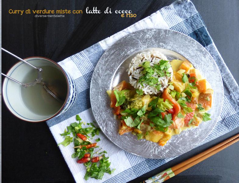 Curry di verdure miste con latte di cocco e riso - Cucina Semplicemente - Origine foto: www.diversamentelatte.it