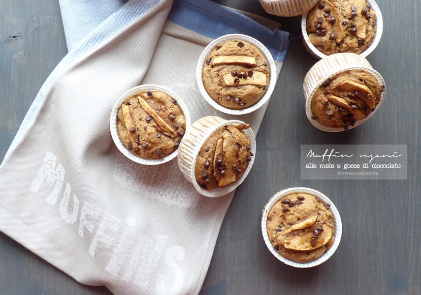 Muffin vegani alle mele e gocce di cioccolato - Cucina Semplicemente - Origine foto: www.diversamentelatte.it